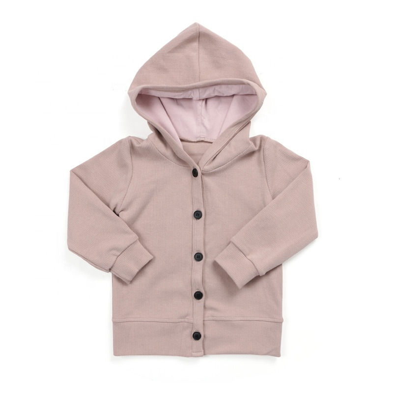 Kids clothing baby clothes button front hoodie cotton ribbed kids coat girl jacket