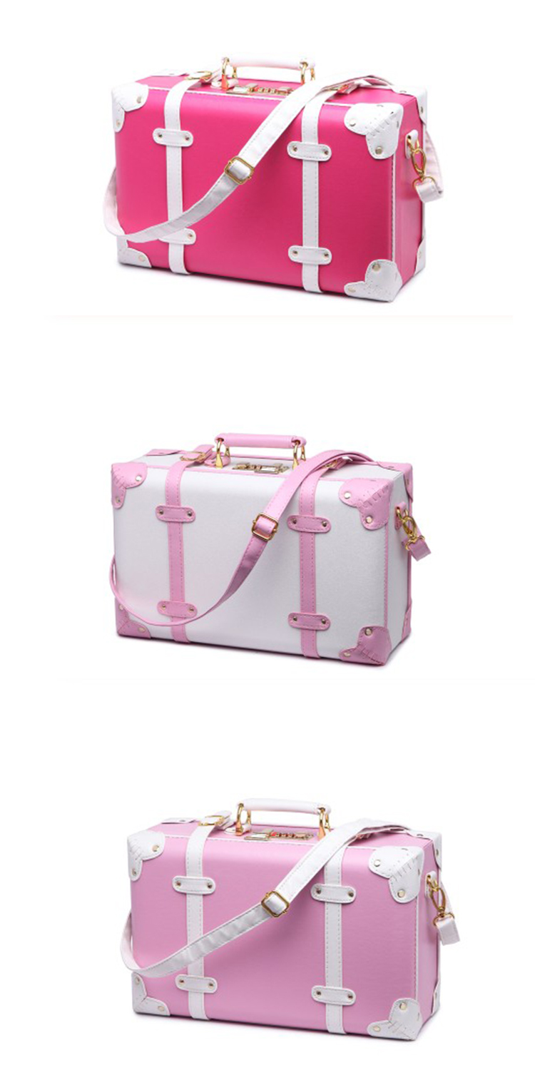 Custom pink vintage travel leather luggage case