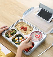 2020 Leak proof 304 stainless steel 5 compartments leak proof bento box kid tiffin box snack container kid lunch box