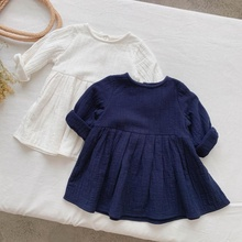 autumn linen <strong>girl</strong> <strong>dress</strong> white bow solid fall toddler baby <strong>dresses</strong> plain kids clothing wholesale