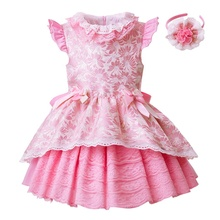 CUSTOM MADE Pettigirl Little <strong>Girl's</strong> <strong>Dresses</strong> Rose Pink Jacquard Girl <strong>Dress</strong> With Headwear Baby Girl <strong>Dresses</strong>