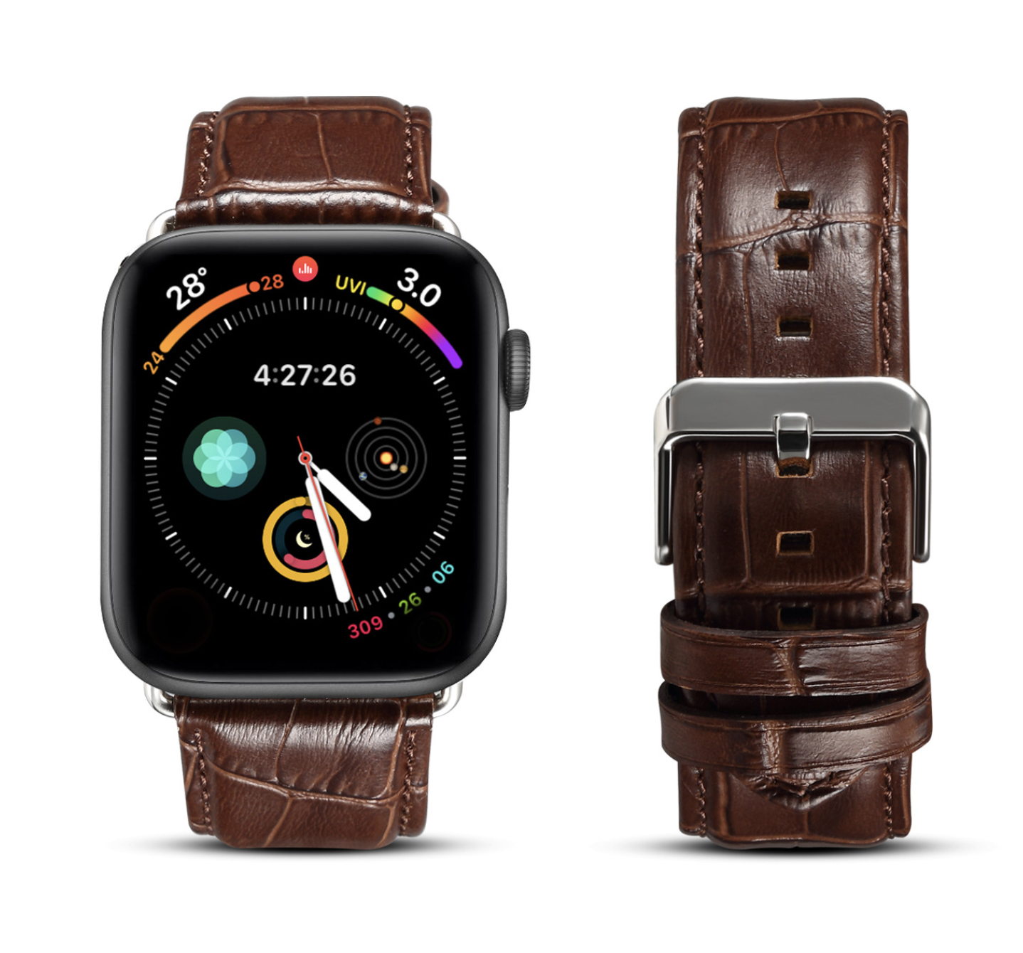Handmade High Quantity Crocodile Texture Cowhide Genuine Leather Watch Strap For Apple Watch Top Layer Apple Watch Band Leather
