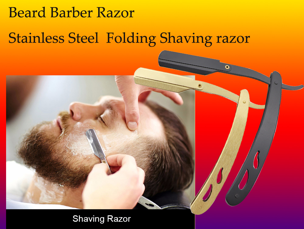 Silver Stainless steel folding private label shavette straight razor replaceable beard barber razor blade