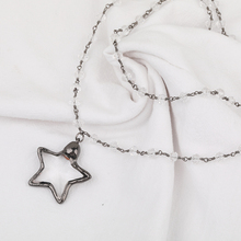 Gunblack Plated Crystal Star Shaped Pendant Women Long Sweater <strong>Chain</strong>