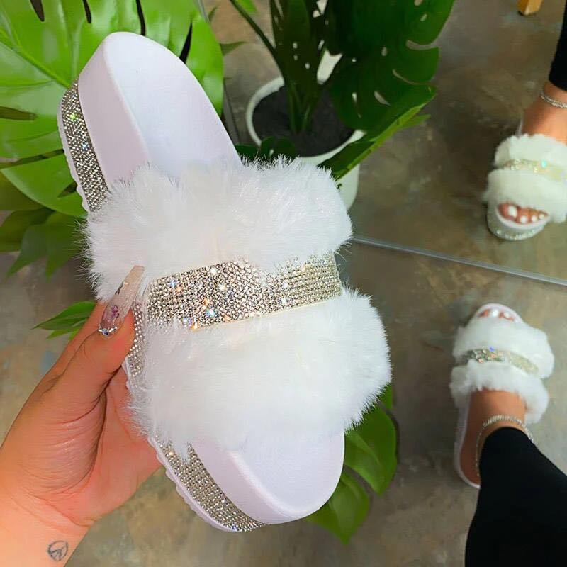 Comfortable Bling Bling Diamond High Flat Fur <strong>Slipper</strong> Sandals For Ladies