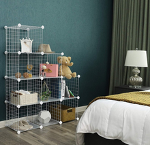 Metal Wire Storage Cubes DIY 12-Cube Closet Cabinet and Modular Shelving Grids Wire Mesh <strong>Shelves</strong> and Rack