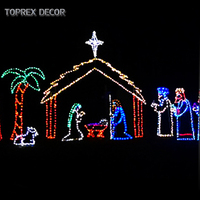 Outdoor Christmas decoration 2d led rope lighted religious nativity set motif lights