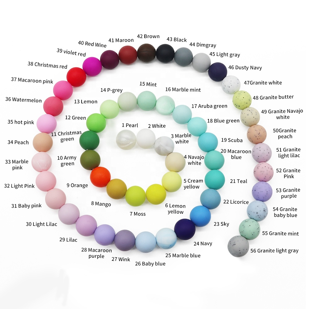 Food Grade Silicone 9mm, 12mm, 15mm, 20mm BPA Free Baby Chew Pacifier Silicone Loose Round Beads