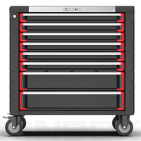 Kinbox Red Complete Stainless Steel Worktop Tool Box Set For Home Use