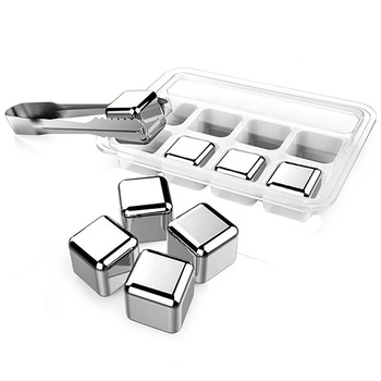 Whiskey Stones Ice Cubes Stainless Steel Ice Cubes Reusable Chilling Frozen Rocks for Whiskey Wine Beverage Juice or Soda