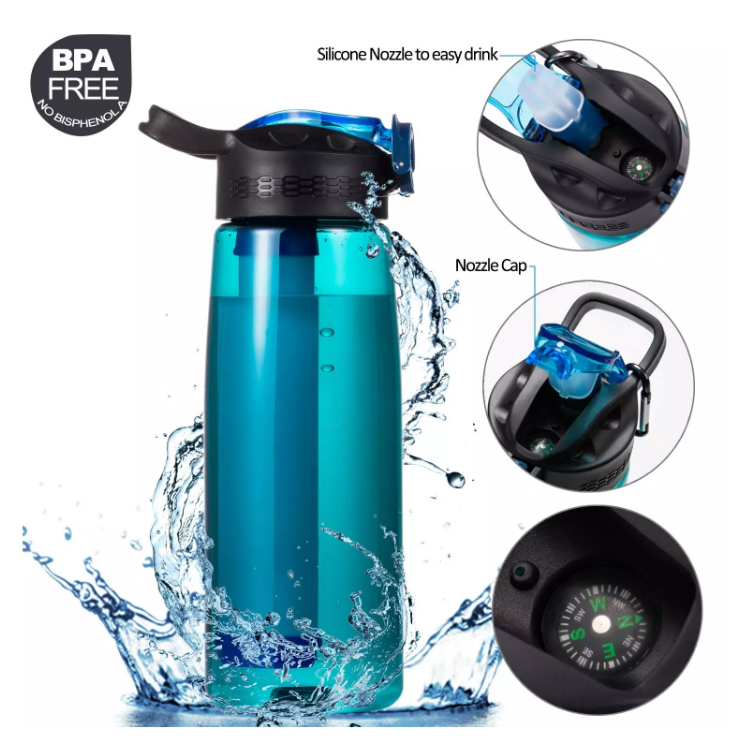 Soft touch sports personal portable filtered water purifier <strong>bottle</strong> with filter