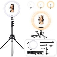 12 inch Dimmable Live Light Kit, 3 Color Modes <strong>10</strong> Brightness USB Powered Heighten Hose LED Ring LightTripod Stand