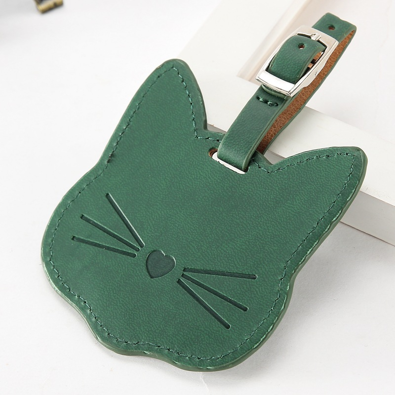 Cartoon Gold Stamping(Embossed) Cute Cat shape Suitcase Leather plane 3D PU Travel Luggage Tag With Name Card PU Luggage Tag