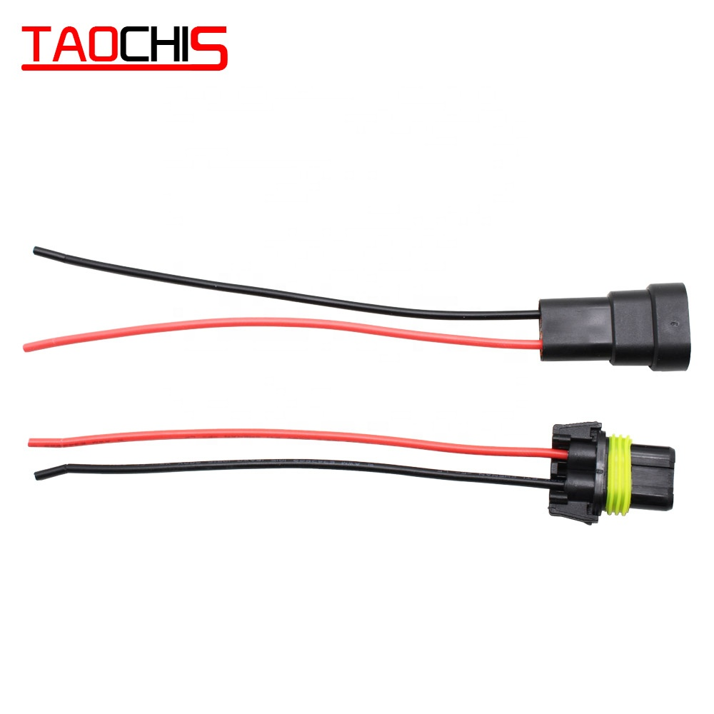 TAOCHIS Car 9005 9006 Female Male Connector with Wire Connectors For <strong>HID</strong> Plug Socket Adaptor HB4 HB3 Waterproof Wiring Harness