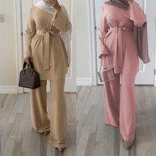 Modest Fashion Islamic Clothing Women Casual Blouse and Pants Suit with <strong>Tie</strong>