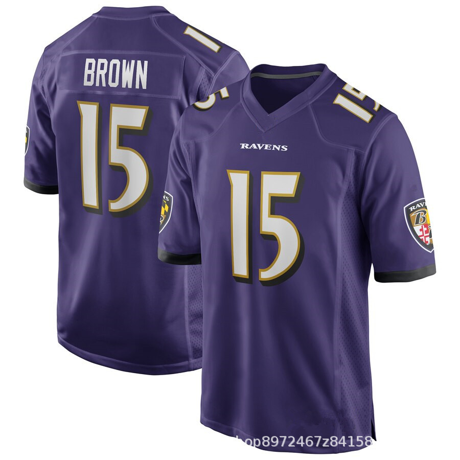 Custom Wholesale Sublimated High Lamar Jackson 8# Michael Crabtree 15# C.<strong>J</strong>. Mosley 57# American football jersey