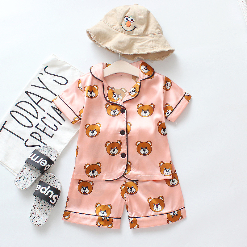 Summer children's pajamas satin fabric bear cartoon home service short sleeve suit baby clothes