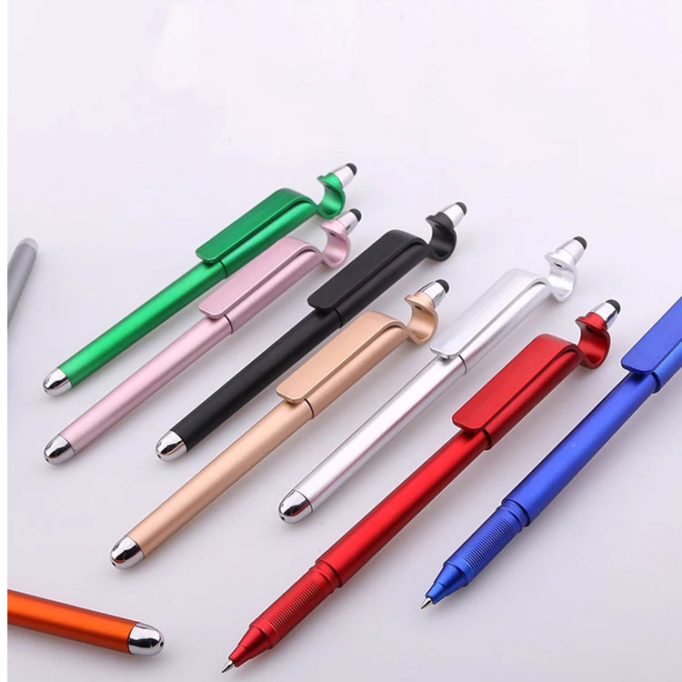 Low MOQ Promotional phone stand stylo stylus touch pen with custom logo