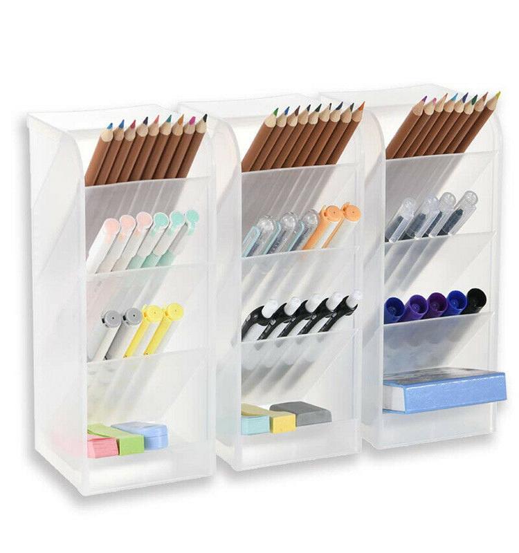 3Pcs Big Office School Organizer Storage Desk Plastic Pencil Holer