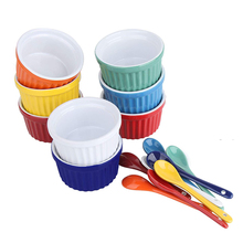 porcelain ramekin packaging <strong>container</strong> cup mold ceramic ice cream bowl with spoon