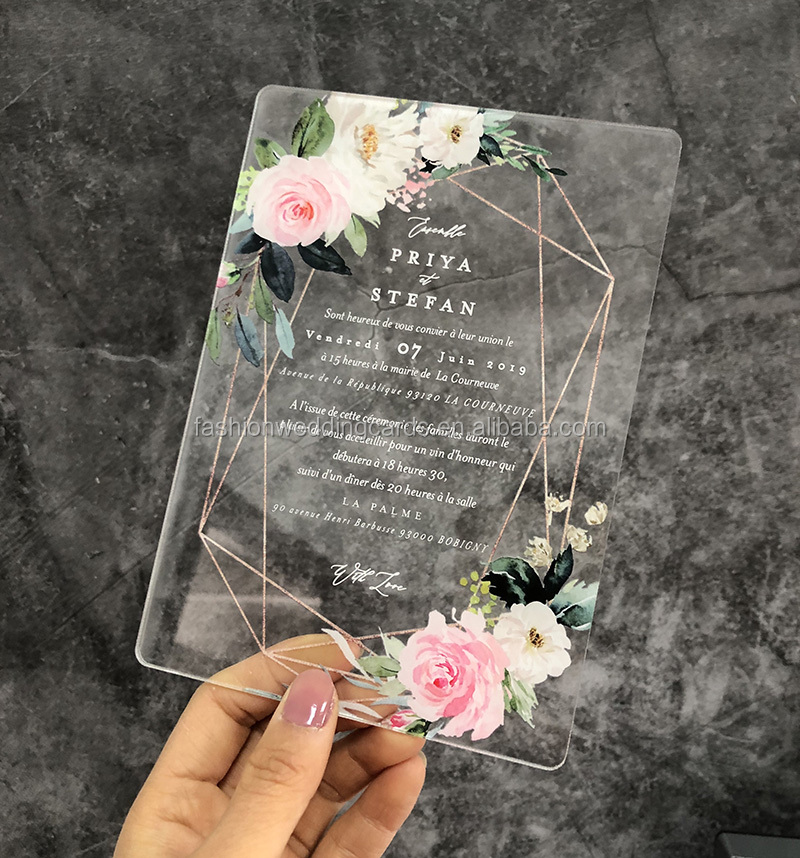 Customized Unique Water Color Style Transparent Acrylic Wedding Invitation