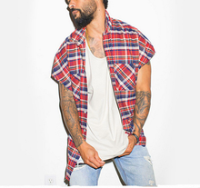 Summer New <strong>Men's</strong> High Street Cut Shoulder Sleeveless Hip-hop Plaid <strong>Shirt</strong> with Hem Zipper