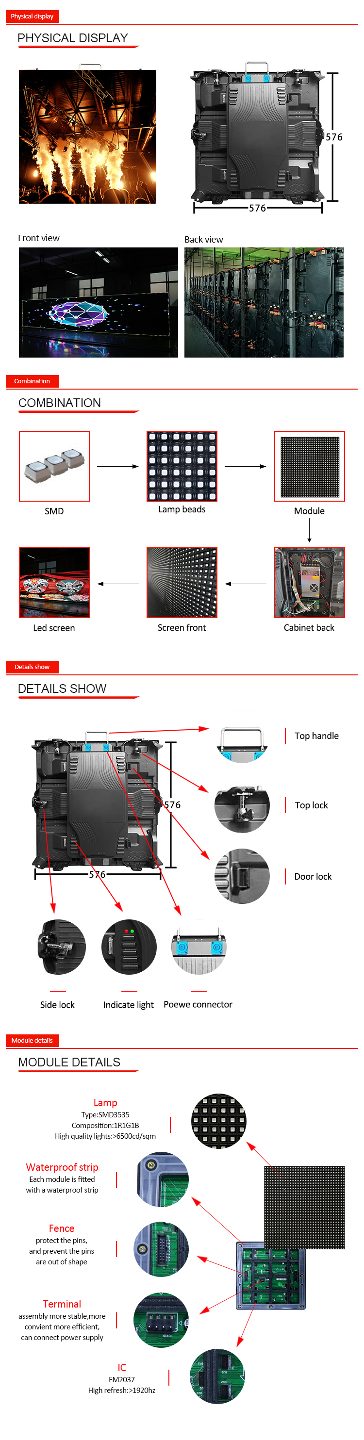 led advertising panel led wall display outdoor Die-casting cabinet P6 HD rental sign