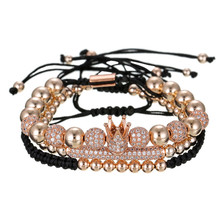 New Arrived Copper Beads Woven Micro-inlaid Zircon Diamond Ball <strong>Crown</strong> 3pcs/set Bead Bracelets