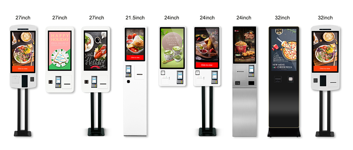 24 inch android system self service payment ordering kiosk in restaurant with ticket printer