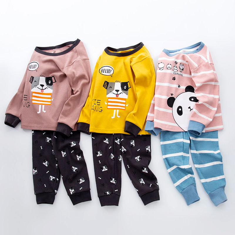 wholesale KIDS cartoon Pajamas cotton Pajamas two piece long sleeve PJs