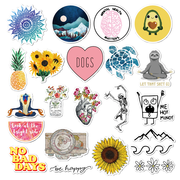 22 Pcs/Pack High Quality Low Moq Durable Removable Laptop Sticker, Vinyl Sticker