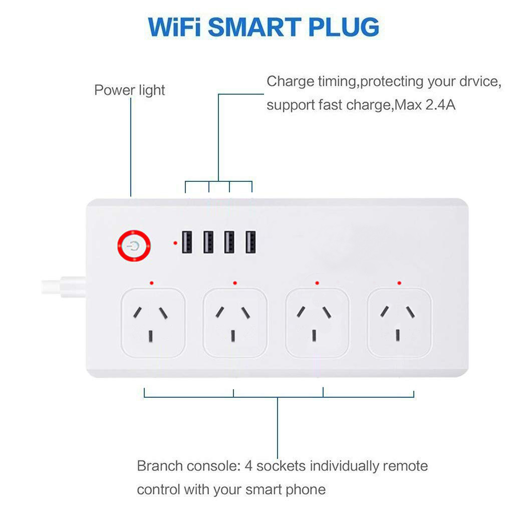SAA Approved Australia WiFi Smart Power Strip 4 Outlets and 4 USB Ports Compatible with Alexa and Google Assistant