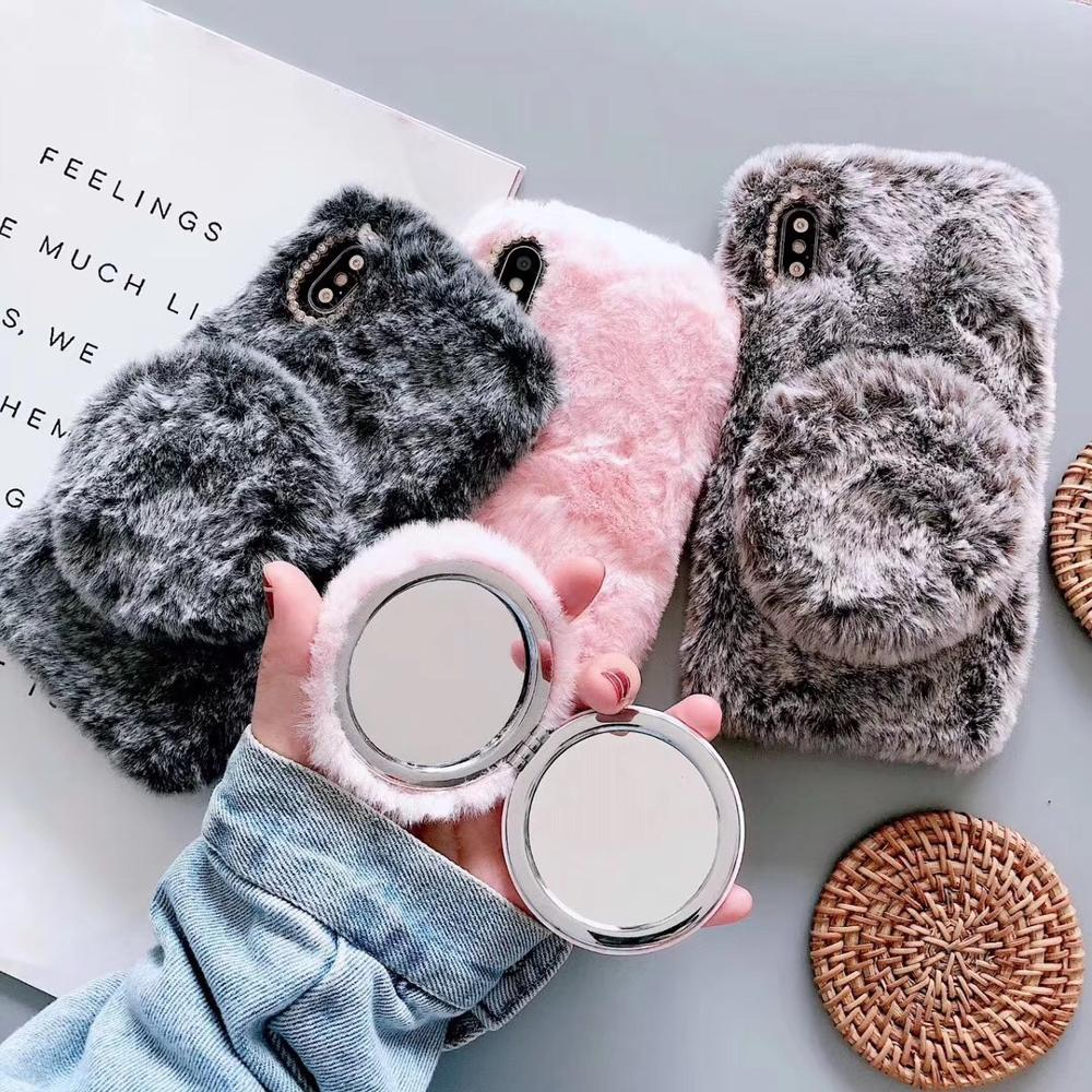 Cute Fluffy Fur Mirror Phone <strong>Case</strong> For iPhone 11 Pro Max Girls Shockproof Bumper Kickstand Cover