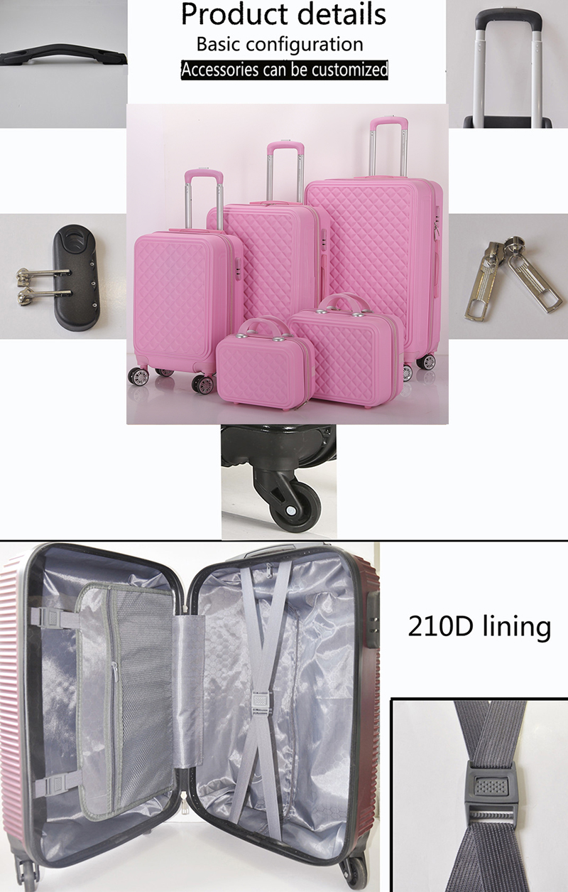 big size hot sale abs/pc travel trolley suitcase ,5 pcs travel custom luggage set