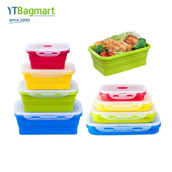 Food Grade BPA Free Silicone Folding Lunch Box Collapsible Foldable Silicone Food Storage Container