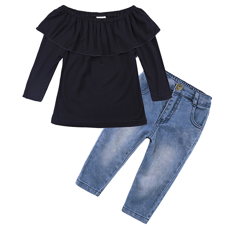 solid fashion black flat shoulders T-shirt and pants toddler girl boutique clothing set 2 pieces