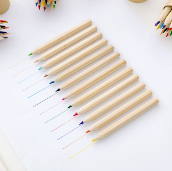 3.5 inch promotion 12pcs color pencil with sharpener
