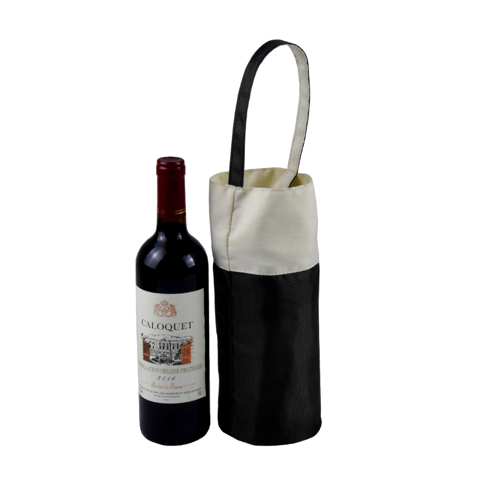 Portable single wine bottle carrier Nylon wine bag with handle