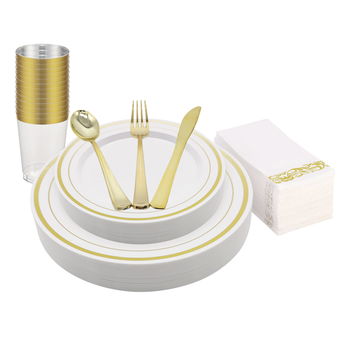 Disposable Dinnerware Set Gold rimmed 180 pcs Plastic Plates For Wedding
