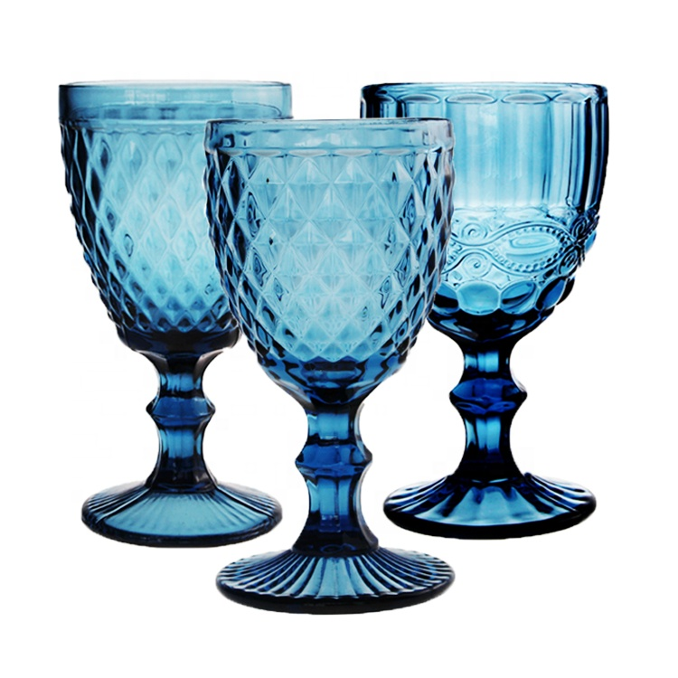 Factory Wholesale Colored Goblet Wine Water <strong>Glass</strong> Pressed Blue <strong>Glass</strong> Goblets Vintage