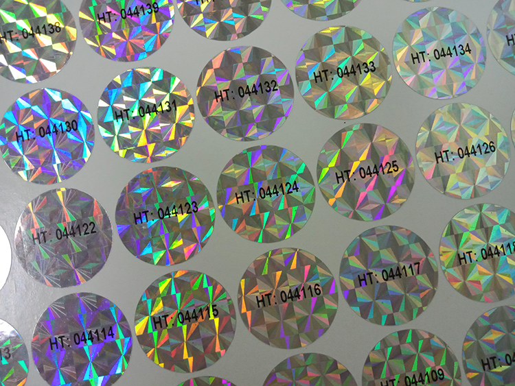 security holographic die cut sheet custom chrome logo sticker 3d hologram label