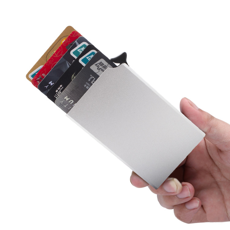 Free sample against reading popup rfid metal aluminum card holder wallet
