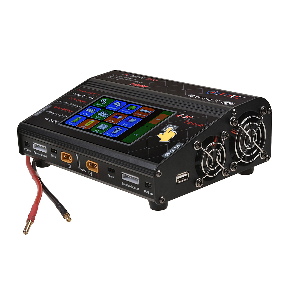 HTRC HT306 DC DUO RC Toy Lipo Battery Balance Charger 600W*2 30A*2 Dual LCD Touch Screen Lilon/LiPo/LiFe/LiHV Battery Charger