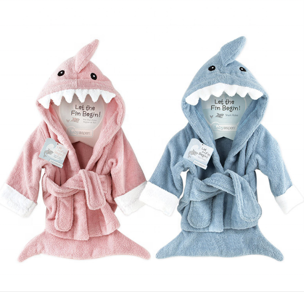 OEM wholesale custom 100% <strong>cotton</strong> terry shark hooded bathrobe children for babies