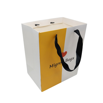 Advertising Promotion Red Paper Shopping Bags With Ribbon Handle