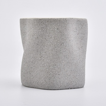 matte gray ceramic candle holders with grainy finish
