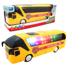 Children Toys Musical Electric Bus Model Luminous Omnidirectional 4D Educational School Bus