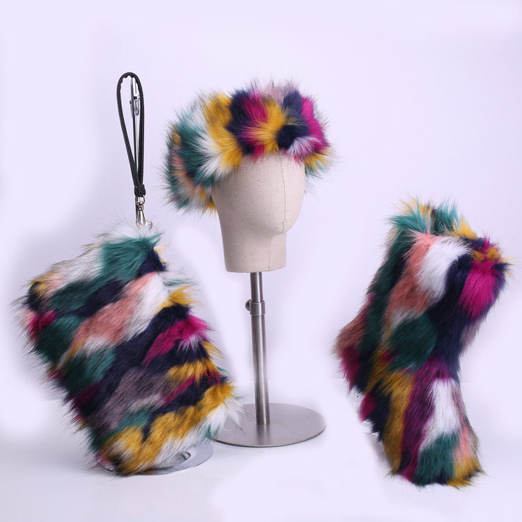 2020 new arrive 2 pieces set women winter furry faux fur boots and headband