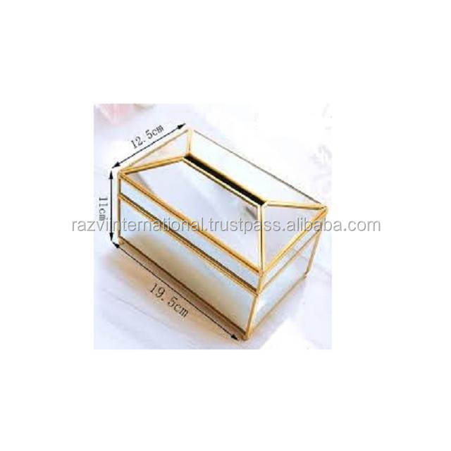 Wooden top metal tissue box