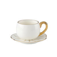 White Ceramic Coffee Cup and Lotus Leaf Saucer with Tea Cup
